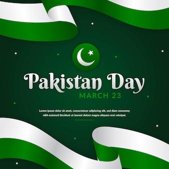 旗とパキスタンの日のイラスト