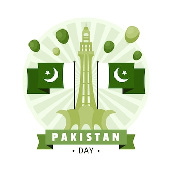 Pakistan day illustration with minar-e-pakistan monument and flags