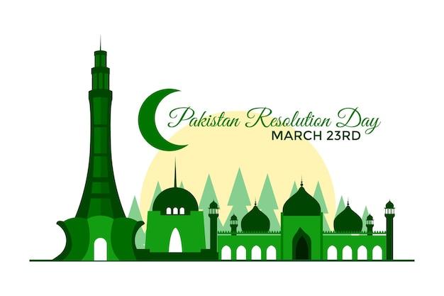 Pakistan day illustration with minar-e-pakistan monument