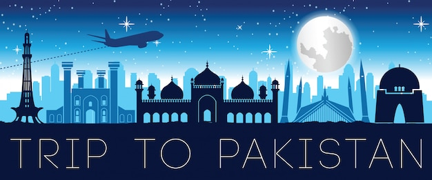Pakistan famous landmark night time silhouette design