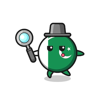 Pakistan flag cartoon character searching with a magnifying glass , cute design