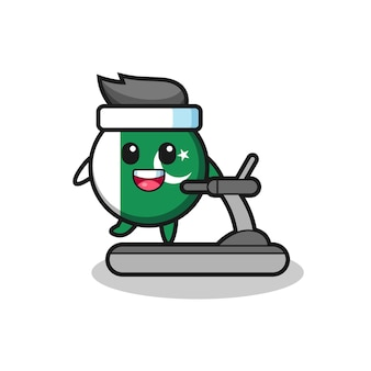 Pakistan flag cartoon character walking on the treadmill , cute design