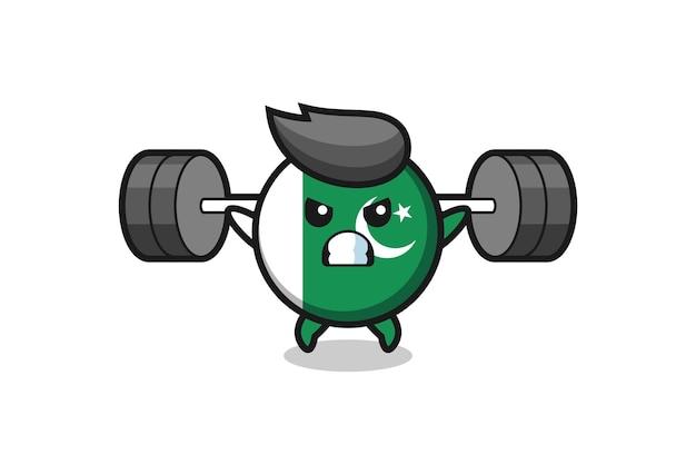 Pakistan flag mascot cartoon with a barbell , cute design