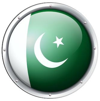 Bandiera del pakistan sul badge rotondo