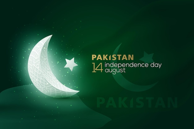 Pakistan independence day 14 th august greeting background vector design with arabic calligraphy