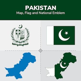 Pakistan map, flag and national emblem