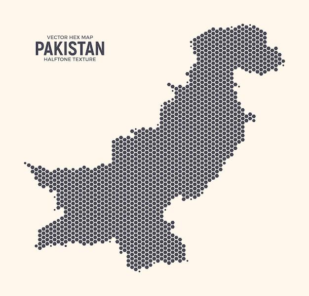 Pakistan map hexagonal halftone texture on light background