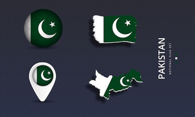 Pakistan national country wave flag set