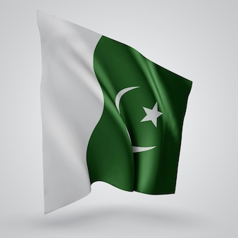 Pakistan, vector flag with waves and bends waving in the wind on a white background.