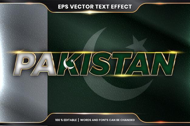 Пакистан с национальным флагом страны, редактируемый эффект текста в стиле золотого цвета