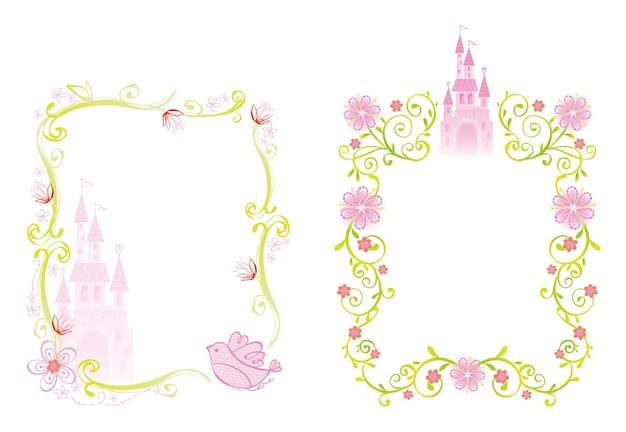 王女をテーマにしたデザインの宮殿と花のフレームのイラスト