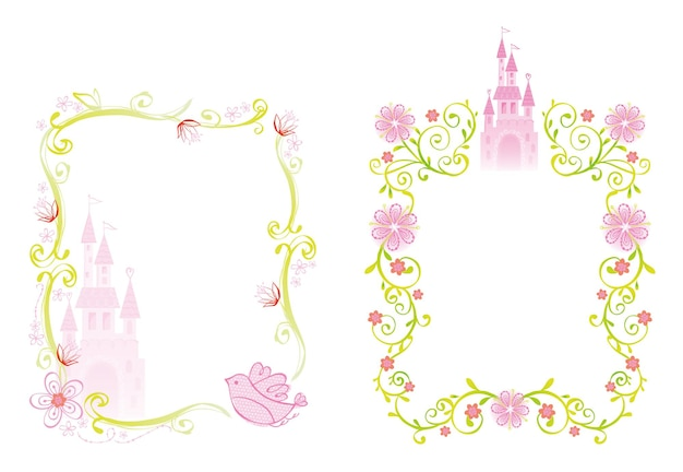 Palace and flower frame illustration with princess theme design