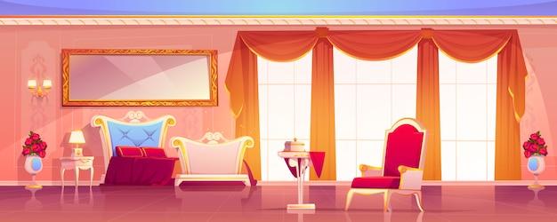 Дворцовая комната королевского пустого интерьера в стиле ампир