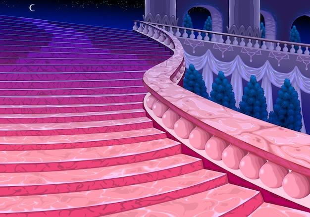 真夜中に宮殿の階段。