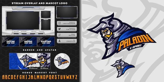 Paladin knight mascot logo and twitch overlay template