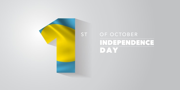 Palau independence day greeting card, banner, vector illustration. palauan national day 1st of october background with elements of flag