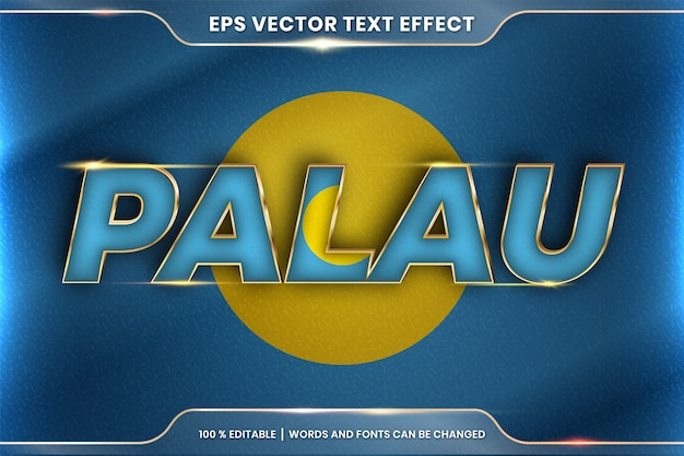 Palau with its national country flag, editable text effect style with gradient gold color concept