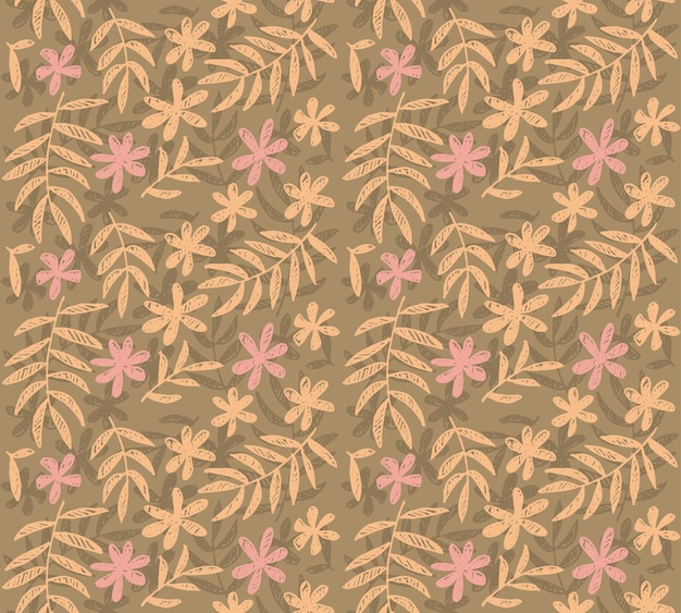 Pale color vector seamless pattern of tropical floral