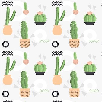 Pale colored different cactus plants pattern