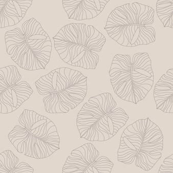 Pale monstera leaf elements seamless hand drawn pattern. exotic hawaii botanical foliage
