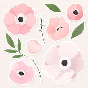 淡いピンクの花柄ステッカーコレクション