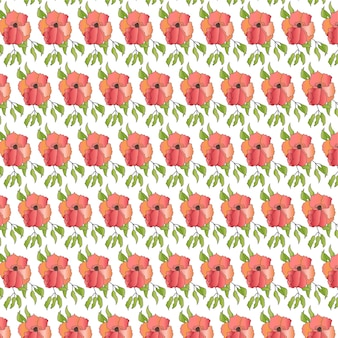 Pale pink flower with green leaves seamless pattern design