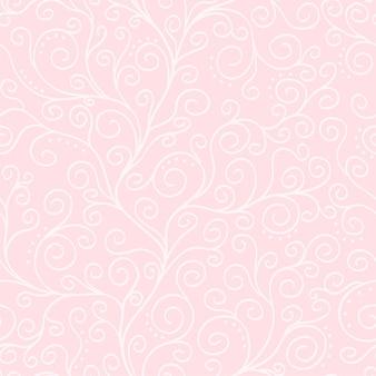 Бледно-розовый векторный фон с белой лианой бесшовные модели