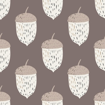 Pale seamless hand drawn pattern with beige and white tones chestnut shapes.