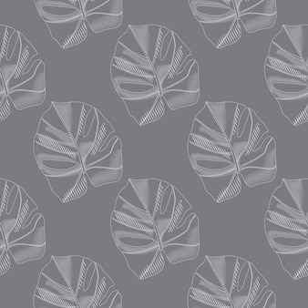 Pale seamless pattern with doodle monstera leaves silhouettes. simple botanic foliage silhouettes.