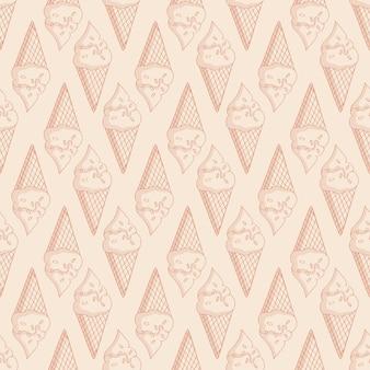 와플 콘에 아이스크림이 있는 창백한 매끄러운 패턴입니다. 단색 밝은 베이지색 배경입니다.