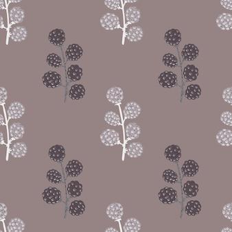 夏のブラックベリーと淡いシームレスパターン