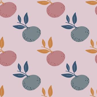 창백한 톤 감귤류 원활한 패턴 만다린 및 나뭇잎 실루엣