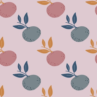 Pale tones citrus seamless pattern with mandarin and leaves silhouettes