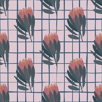 落書きプロテアの花の形をした淡い色調の花のシームレスな自然のパターン