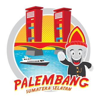 Ампера мост изолированных иллюстрация palembang sumatera selatan indonesia