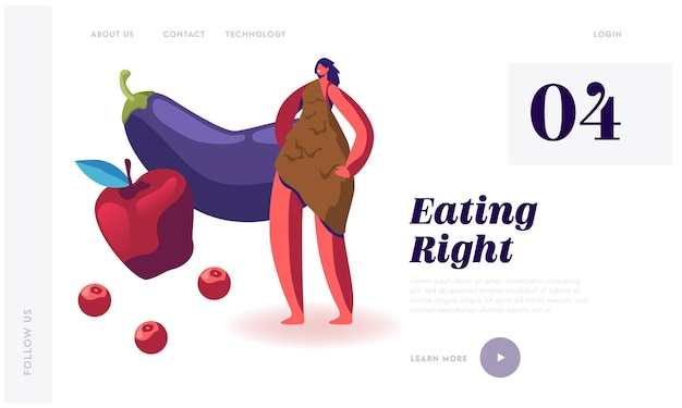 Целевая страница веб-сайта paleo diet concept.