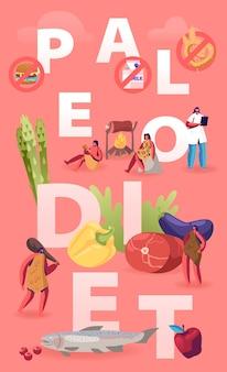 Концепция здорового питания палео диеты. пещерные люди и врач-диетолог гуляют вокруг продуктов морепродукты мясо вода овощи и фрукты. мультфильм плоский иллюстрация