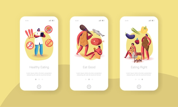 Paleo diet healthy eating mobile app page onboard screen template.