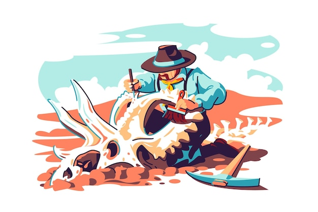 Paleontologist scientist work on excavations