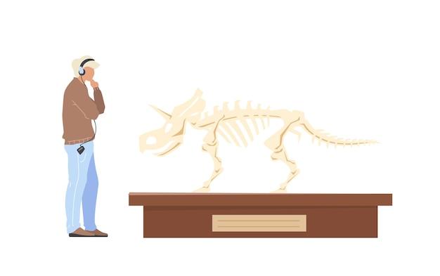 Палеонтологическая выставка посетителя мужского пола плоских цветных безликих персонажей. аудиотур на экскурсию. витрина скелета динозавра изолировала иллюстрацию шаржа для веб-графического дизайна и анимации