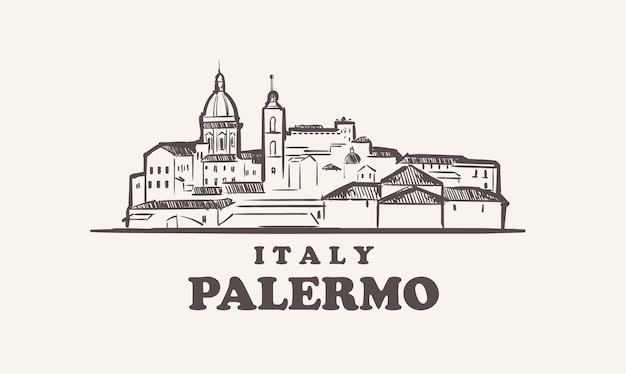 パレルモの街並みスケッチ手描きイタリアイラスト