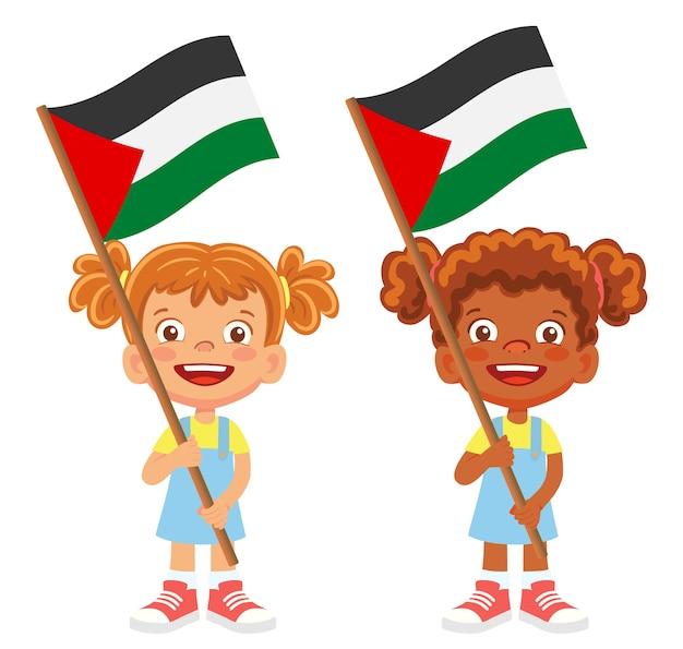 Palestine flag in hand. children holding flag. national flag of palestine vector
