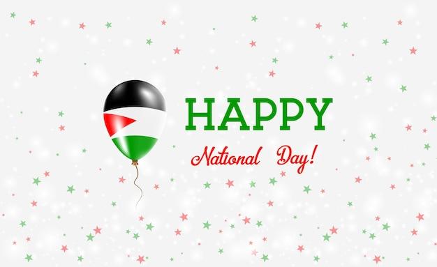 Национальный день палестины патриотический плакат. летающий резиновый шар в цветах палестинского флага. фон национального дня палестины с воздушным шаром, конфетти, звездами, боке и блестками ..