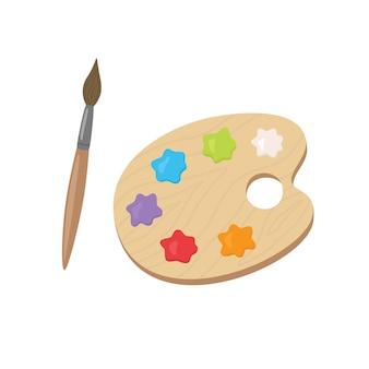 アクリル絵の具とブラシのパレット