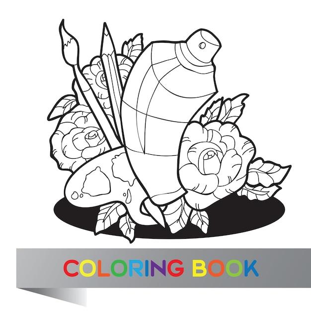 Палитра с краской, кистями и аэрозольной краской в розах - книжка-раскраска - вектор