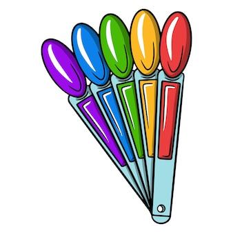 ニスのパレット。マニキュアまたはペディキュアの色を選択するためのパレット。マスターに必要です。デザインと装飾のための漫画スタイルのベクトルイラスト。