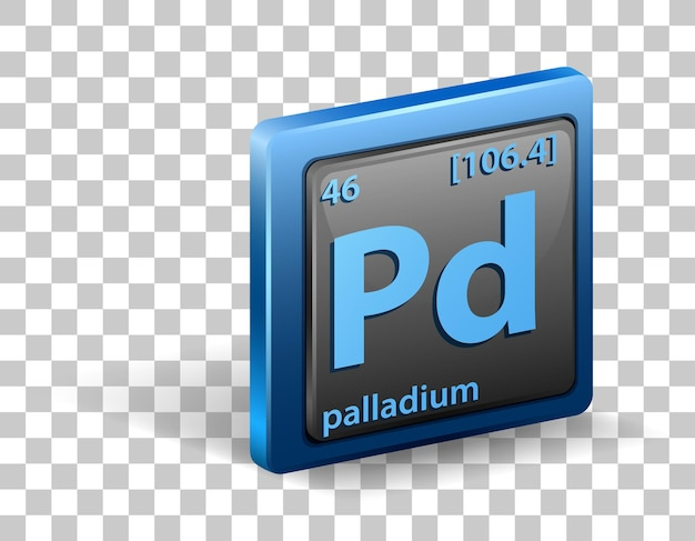 Palladium chemical element. chemical symbol with atomic number and atomic mass.