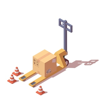 Pallet truck with box.