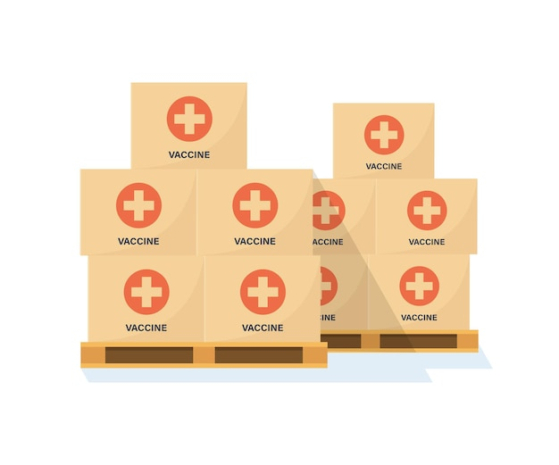コロナウイルスワクチンの箱が入ったパレット。コロナワクチンのある倉庫。ワクチンの輸送。アンチウイルスキャンペーン。フラットスタイル