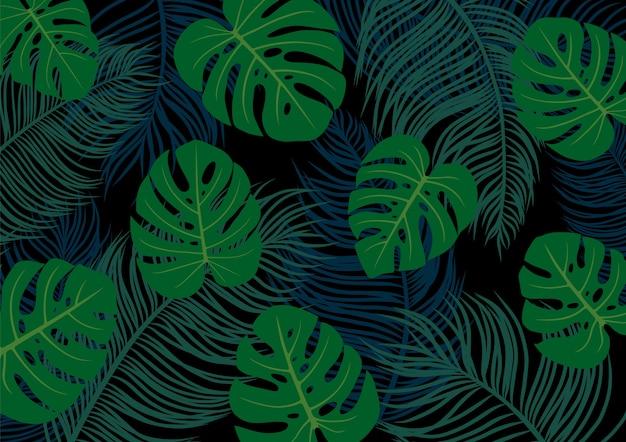 Palm и monstera deliciosa листья на черном фоне